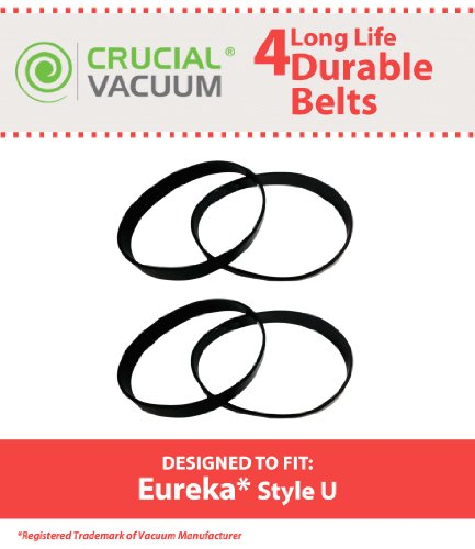 4 Eureka Style U Belts Fit Eureka Uprights, Whirlwind, Victory, Bravo, LiteSpeed, AS-2000 Series Upright Vacuum, Compare To Part # 61120A ,61120B, 61120C, 61120D & 83797 Designed & Engineered By Crucial Vacuum by Crucial Vacuum