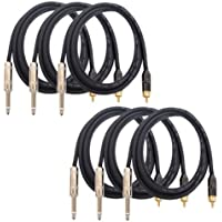 GLS Audio 6ft Patch Cable Cords - RCA To 1/4 TS Black Cables - 6 Pro Series Cord - 6 PACK