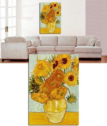 Lienzo grande con dise/ño de girasoles de furgoneta GOGH de 76,2 x 50,8 cm listo para colgar por lienzos interiores