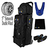 KAZE SPORTS Deluxe 3 Ball Bowling Roller with Double Wheels + Microfiber SeeSaw + Leather Shammy Towel + Shoe Cover