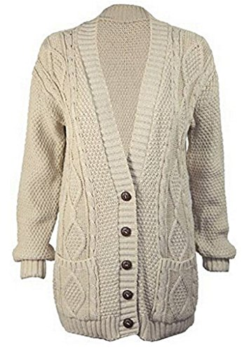OgLuxe Women's Ladies Long Sleeve Pocket Cable Knit Chunky Cardigan Size 6-24 (XXL/XXXL (UK 24-26 EU 52-54 US 20-22), Stone) Cable Knit Cardigan Sweater