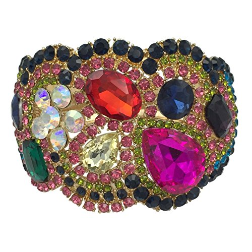 Gypsy Costume Clip (Large Statement Rhinestone Wide Hinged Gold Tone Bangle Bracelet - Assorted Colors (Multi Color))