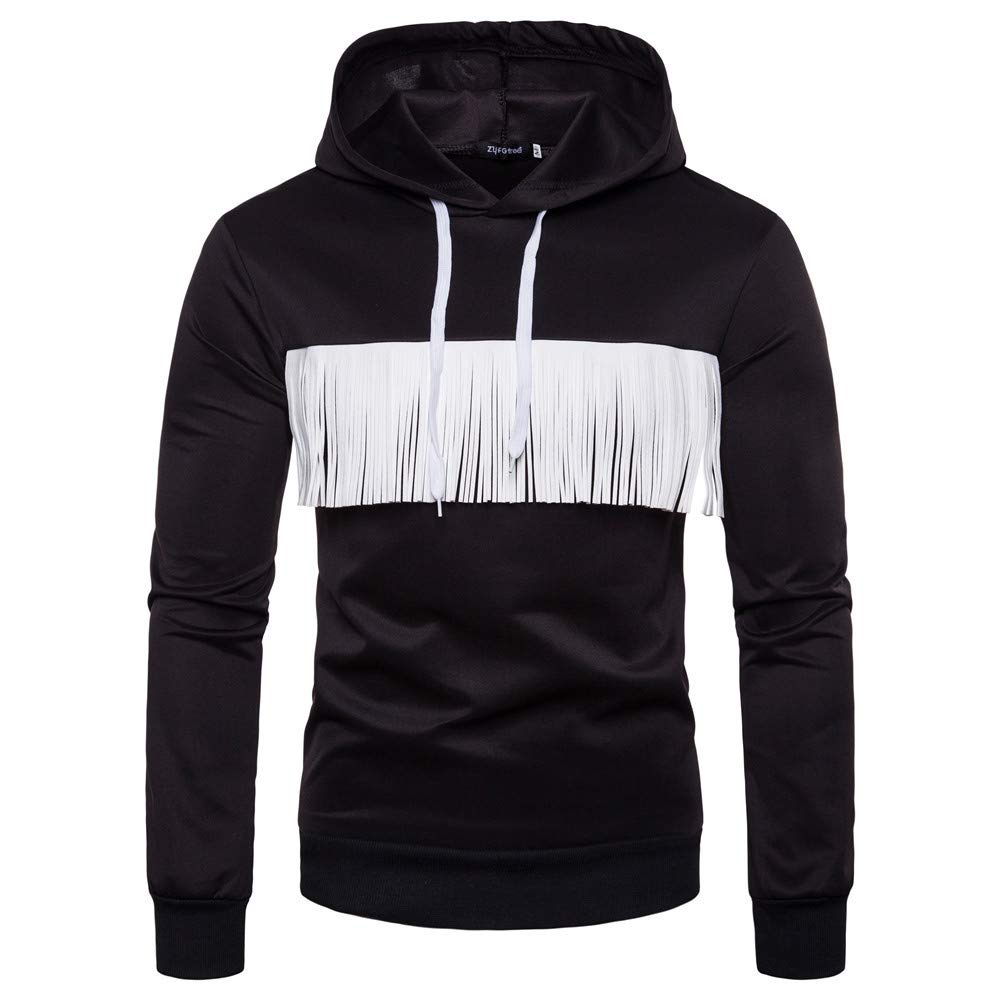 CMrtew ❤️ Men's Autumn Winter Casual Long Sleeve Solid Color Fringed Hoodie Top Blouse (Black, XL)