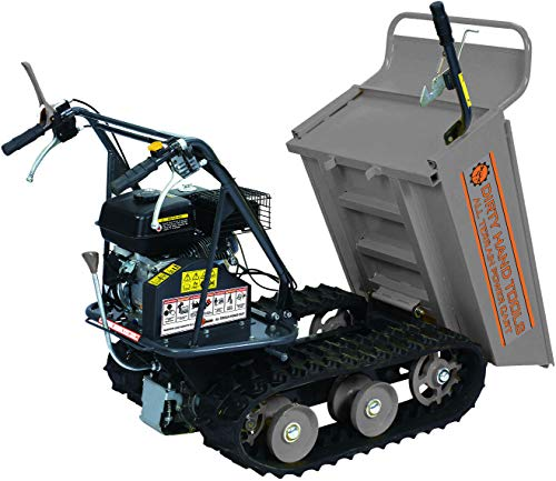 Dirty Hand Tools | 101872 | All Terrain Power Cart with 6.5 HP 196cc Engine | 7 Inch Wide Tracks | 4 Speed Transmission | 660 Pound Load Capacity with Tipping Handle and Removable Sides (Tool Wheelbarrow)