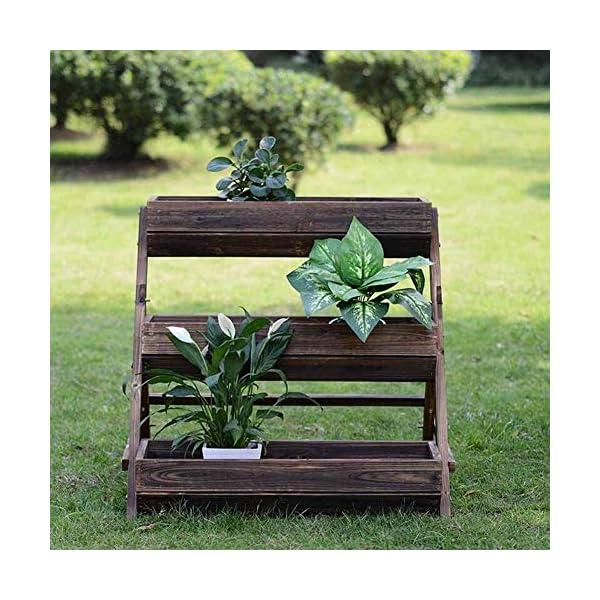 HEMFV 3 Tier Giardino alzato for Verdure in Legno sopraelevata Planter Box di Legno Naturale for Outdoor Patio Yard… 4 spesavip