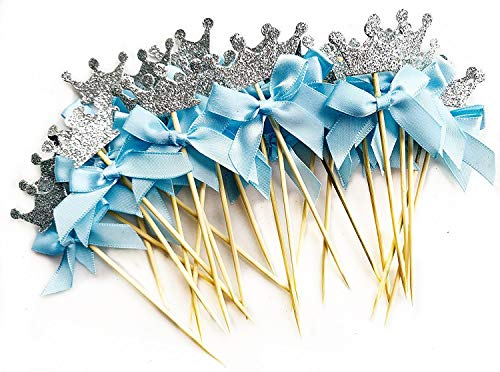 Silver Glitter Crown Cupcake Toppers for It's a Boy Themed Baby Shower Birthday Party Decorations and Supplies(Set of 24 Count) -