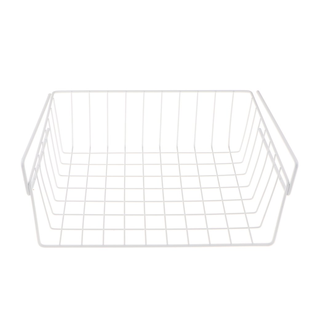 Dovewill Wire Household Storage Rack Pantry Organiser Basket for Freezer Cabinet Cupboard - White, 03