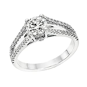 GIA Certified 14k white-gold Round Cut Diamond Engagement Ring (1.09 cttw, E Color, SI2 Clarity)