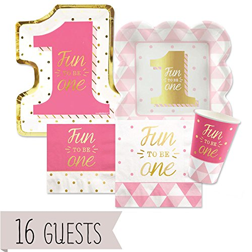 Fun to be One - 1st Birthday Girl with Gold Foil - Party Tableware Plates, Cups, Napkins - Bundle for 16 (Girl 1 1 Plate)