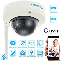 KKmoon HD 720P Wireless WiFi CCTV Dome Camera with IR LED Night Vision Motion Detection Security P2P Network IP Cloud Indoor Outdoor Dome Camera support Onvif Email Alarm Android/iOS APP Free CMS