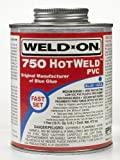 Weld-On 13751 Blue 750 Medium-Bodied Hot-Weld PVC Professional Industrial-Grade Solvent Cement, Fast-Setting, 1 quart Can with Applicator Cap