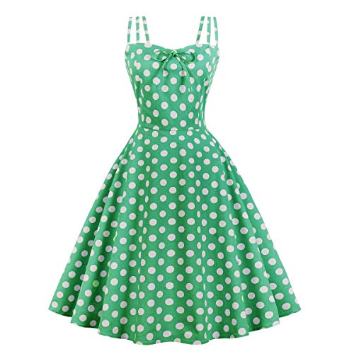 1960s 1970s Dress - Wellwits Women's Cami Strap Polka Dots Tea Party 1950s Vintage Dress Green S