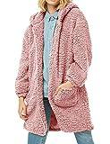 Rotita Women Long Sleeve Fuzzy Jacket Oversized Zip Up Hooded Cozy Coats with Pockets