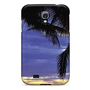 Protective Tpu Case With Fashion Design For Galaxy S4 (nature Plants Palm Trees At Sunset)