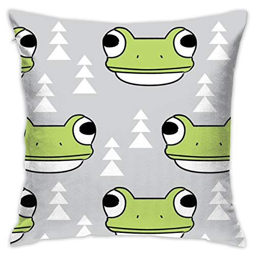 - Frog-face-and-Trees-on-Grey Decorative Square Throw Pillow Covers 17.7 x 17.7 Inch 45 x 45 cm