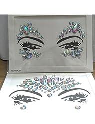 2pcs Crystal Tattoos Face Jewels Festival Rhinestones Gems Stickers Body Temporary Tattoos Bindi Eyes Stones Mermaid for Rave Party Face Rocks