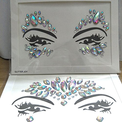 2pcs Crystal Tattoos Face Jewels Festival Rhinestones Gems Stickers Body Temporary Tattoos Bindi Eyes Stones Mermaid for Rave Party Face Rocks