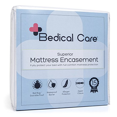 Bedical Care Mattress Cover Protector / Encasement : Hypoallergenic Cotton Terry with Waterproof Coating, Zippered, Velcro Flaps | Protects Against Bedbugs, Dust Mites & Allergens, Twin - Cotton Zippered Mattress Cover