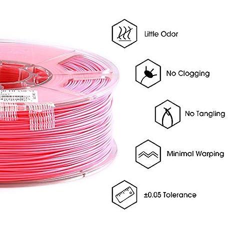 Filamento ABS 1.75mm Precisione Dimensionale +//- 0.05mm Filamento per Stampanti 3D eSUN Filamento ABS per Stampante 3D 2.2 LBS Rosso Chiaro Bobina da 1KG