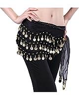 Buy Home Chiffon Dangling Gold Coins Belly Dance Hip Skirt Scarf Wrap Belt