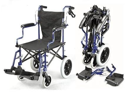 Deluxe silla de ruedas plegable de peso ligero en una bolsa con frenos de mano ECTR04
