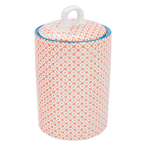 Cannister Orange - Nicola Spring Patterned Porcelain Tea, Coffee and Sugar Canister - Orange Print Design