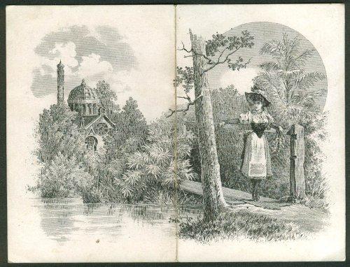 O M Sala Underwear folding trade card New York State rural girl 1880s