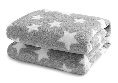 DANGTOP 100% Polyester Flannel Blanket with Star Pattern Super Soft Warm Christmas Throws (Grey,39