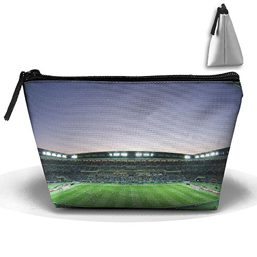 Makeup Bag Trapezoidal Storage Bag Football Sports Stadium 2 Portable Cosmetic Bag Ladies Mobile Travel Bag for $<!--$14.50-->