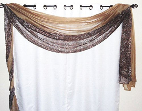 Taupe Leopard - GorgeousHome *Different Colors* 2 **MIX-MATCH COLORS** Elegant Scarf Valance Voile Sheer Curtain Window Dressing 216