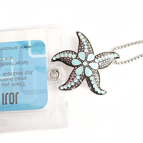 Antiqued Silver Starfish with Aqua Enamel: Lanyard Chain Necklace with ID/Badge/Card Holder (+Bonus Pouch) (Trade Show Costume Jewelry)