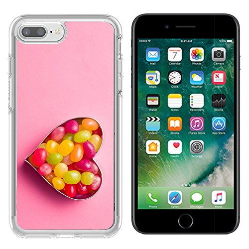 Luxlady Apple iPhone 7/8 Clear case Soft TPU Rubber Silicone Bumper Snap Cases iPhone7/8 IMAGE ID: 40444425 heart made from jelly beans on pink (Bean Silicon Case)