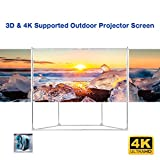 Excelvan Outdoor Indoor Compatible Wrinkle-Free Portable Projector Screen With Trapezoid Base Stand With Transportable Bag for Installing Camping Outdoor Theater Movie, Gaming (100 Inch 16:9)
