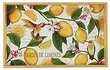 Decorative Wood Vanity Tray, Lemon Garden, 12.6'' X 7.8'' * 1.5'', Birds, Yellow Fruity Lemons, White Decorative Floral, Botanic Decoupage Home Accent