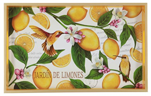 (TSC Giftables Decorative Wood Vanity Tray, Lemon Garden, 12.6