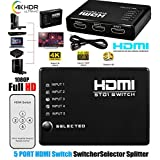 5-Port HDMI Switch Supports 3D Full 1080P Ultra HD HDMI Splitter with IR Wireless Remote (Black)