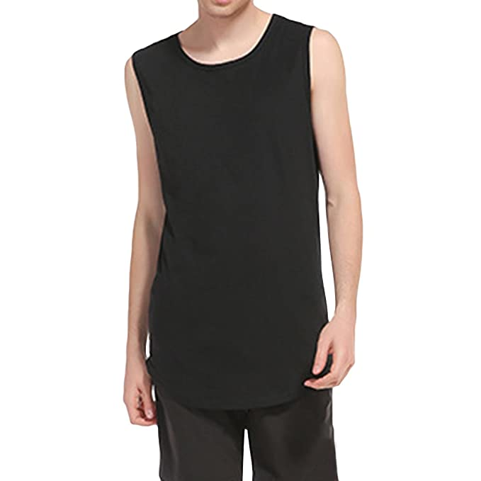 7001009b46b0c Earlish Men s Longline Tank Tops Solid Color Premium Summer Curved Hem Tee  Vest
