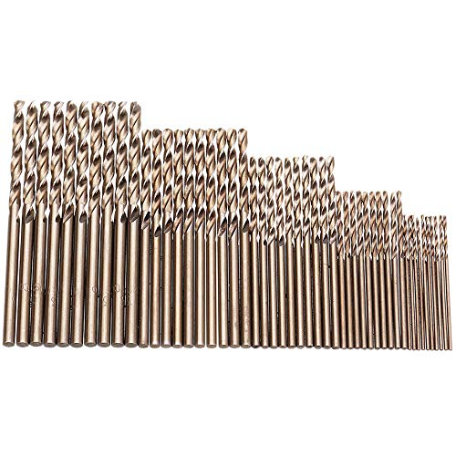 Migiwata Metric M35 Cobalt Steel Extremely Heat Resistant Twist Drill Bits with Straight Shank Set of 50pcs in 5 Sizes(1, 1.5, 2, 2.5, 3mm) to Cut Through Stainless Steel Cast Iron and Hard Metals (Bit Steel Stainless 3)