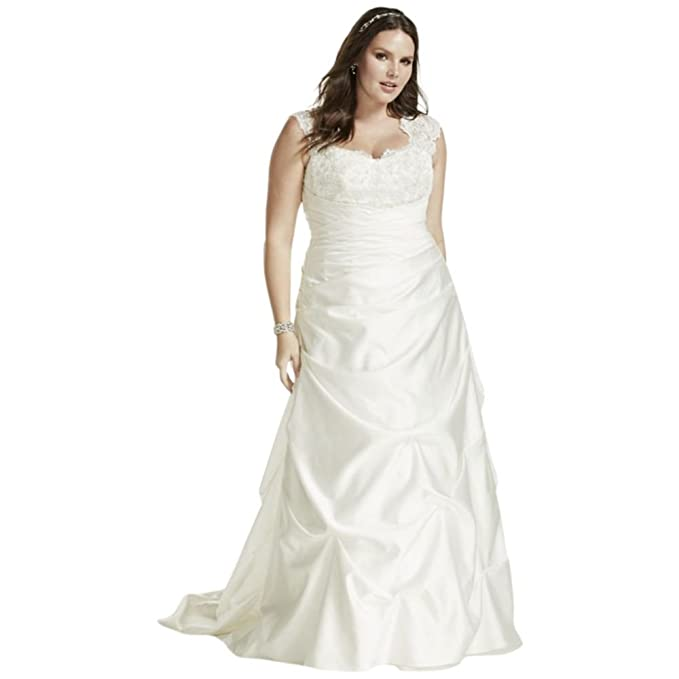 David\'s Bridal Cap Sleeve Satin A-line Plus Size Wedding ...