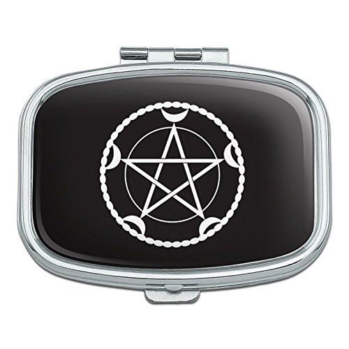 Pentacle Pentagram Moon Goddess Wiccan Witch Nature Rectangle Pill Case Trinket Gift ()