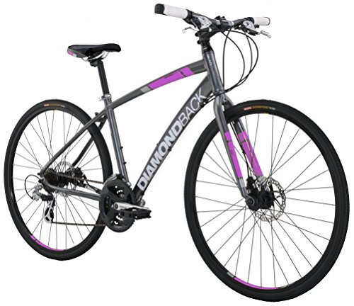 Diamondback Bicycles Women's 2016 Clarity 2 Complete Performance Hybrid Bike, 18 Inch Frame 18 Grey/Pink