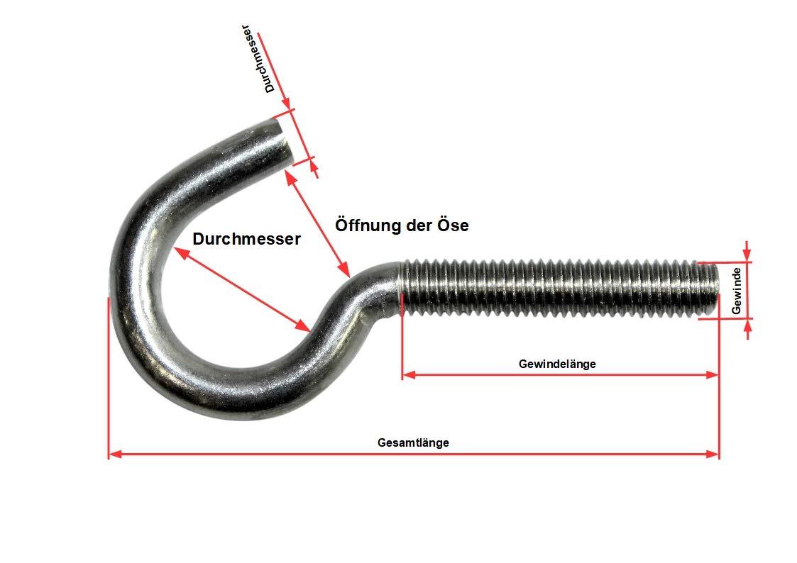 SN-TEC Schraubhaken//Wandhaken//Gewindehaken gebogen M8x80mm verzinkt 10 St/ück