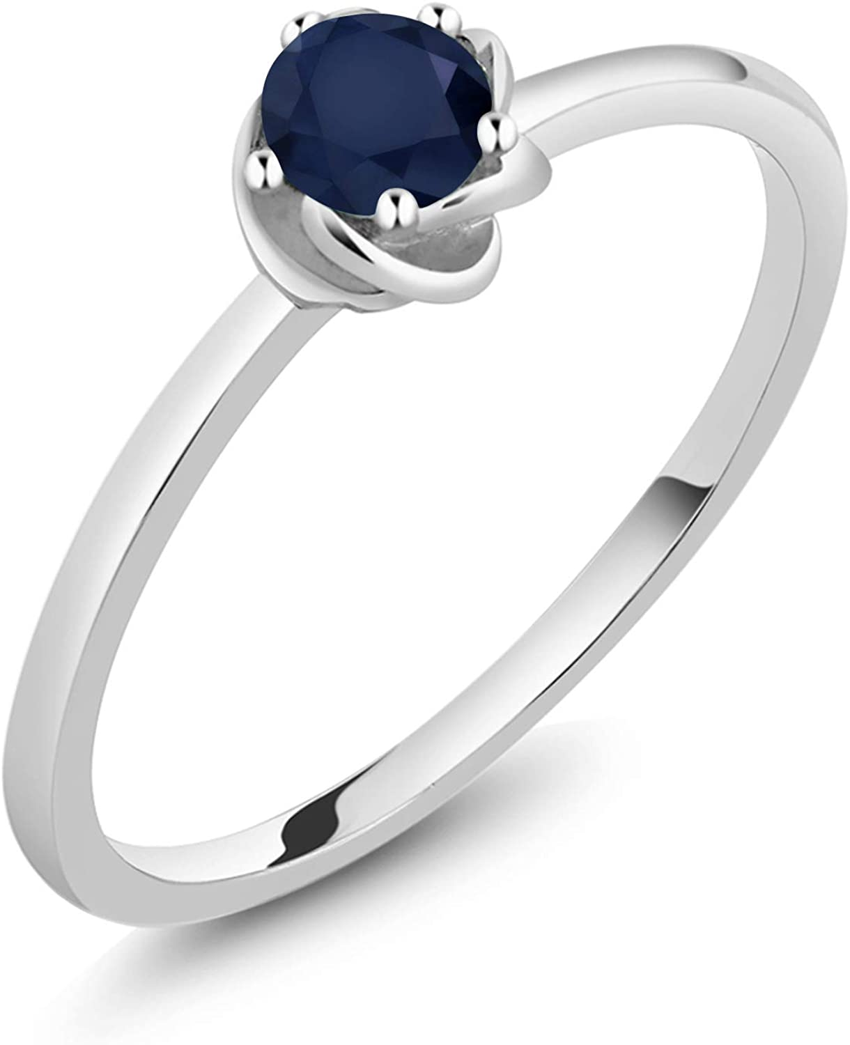 Available 5,6,7,8,9 Gem Stone King Sterling Silver Blue Sapphire Gemstone Birthstone Womens Ring 1.02 cttw