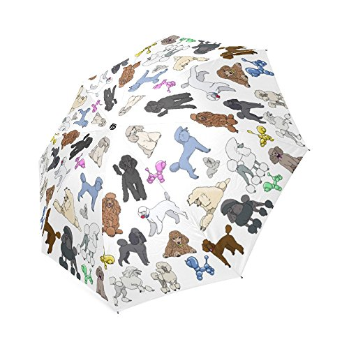 Artsadd Fashion Umbrella Poodle White Foldable Sun Rain Travel (Poodle Umbrella)