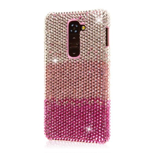 EMPIRE Glitz Crystal Jeweled Waterfall Slim-Fit Case with Screen Protector for LG G2 D800 D803 LS980 - Pink (Lg Screen G2 Case Protector)