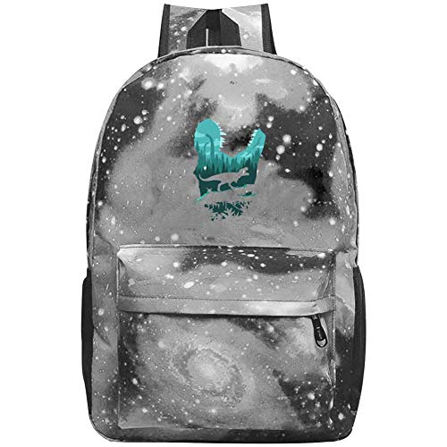 XKSJSB T-Rex Galaxy Laptop Backpack, Star Water Resistant College Students Travel Computer Notebooks Backpack for Men Women Gray