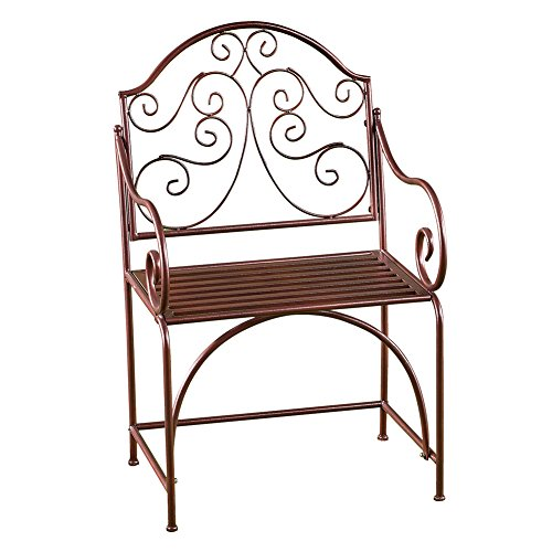 Collections Etc Elegant Outdoor Metal Garden Patio Chair Bench Seat with Scroll Back