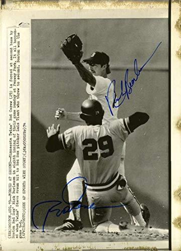 (ROD CAREW RICK BURLESON PSA DNA COA Autograph 8x10 1974 Original Wire Photo Hand Signed)