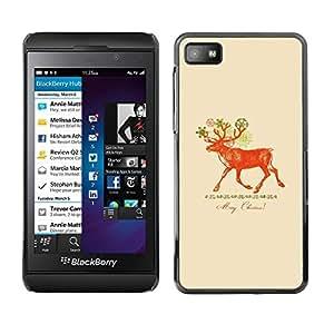 Be Good Phone Accessory // Dura Cáscara cubierta Protectora Caso Carcasa Funda de Protección para Blackberry Z10 // Christmas Deer Red Peach