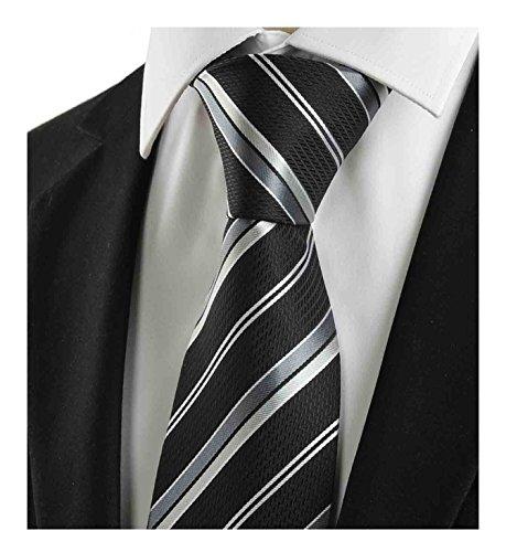 L04BABY Men's Classic Black Silver Striped Jacquard Woven 100% Silk Tie Necktie -